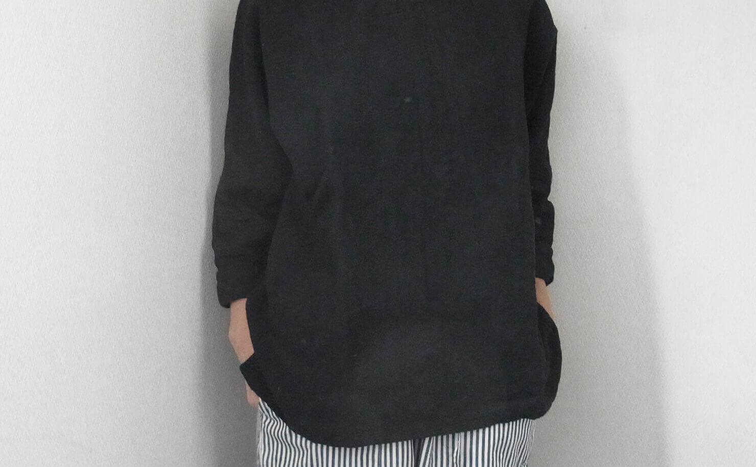 N1 黒リネン長袖ブラウス