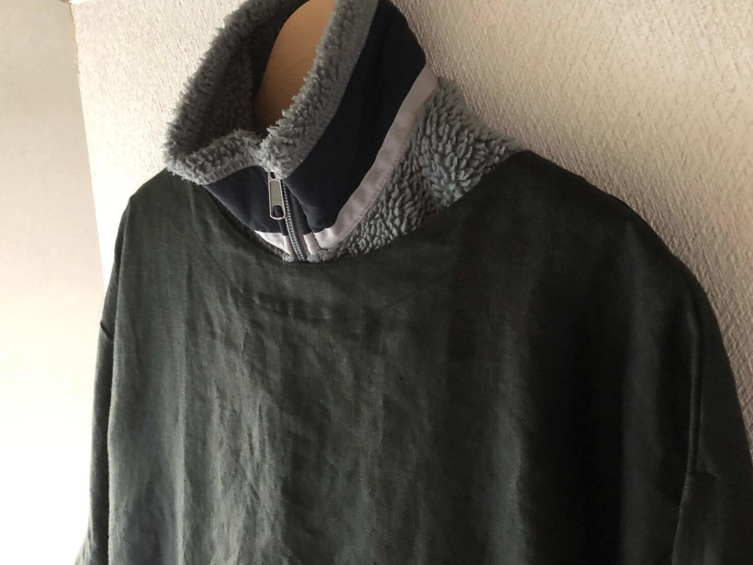 EARTH COLOR制作「黒リネン割烹着」厚手の服の上にも着れます