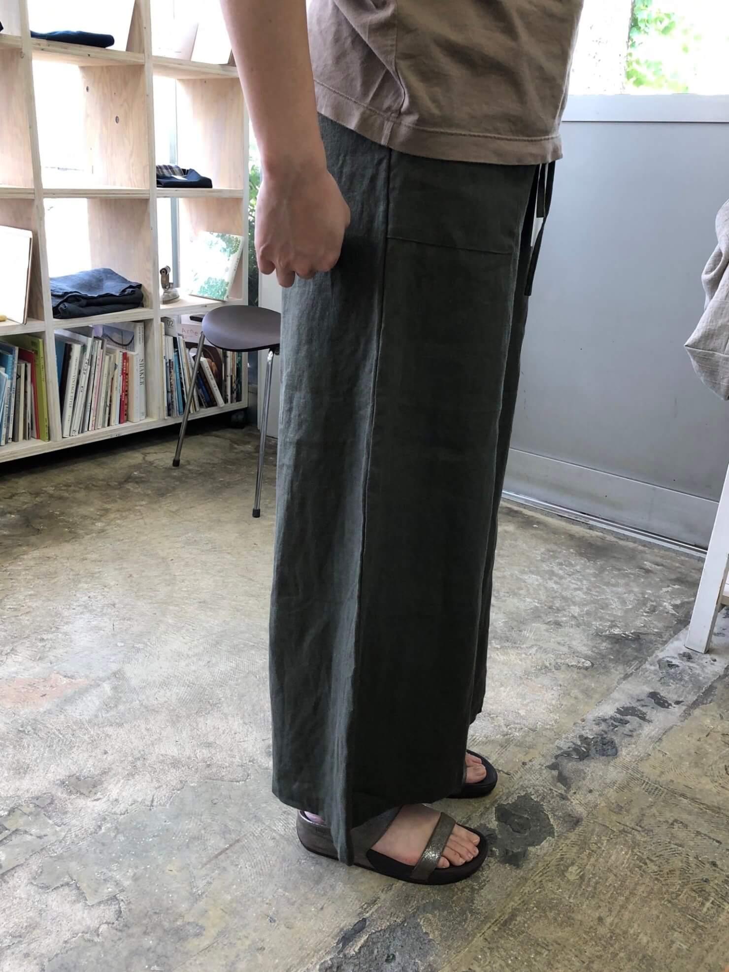 カーキリネンスカート のようなパンツ 4