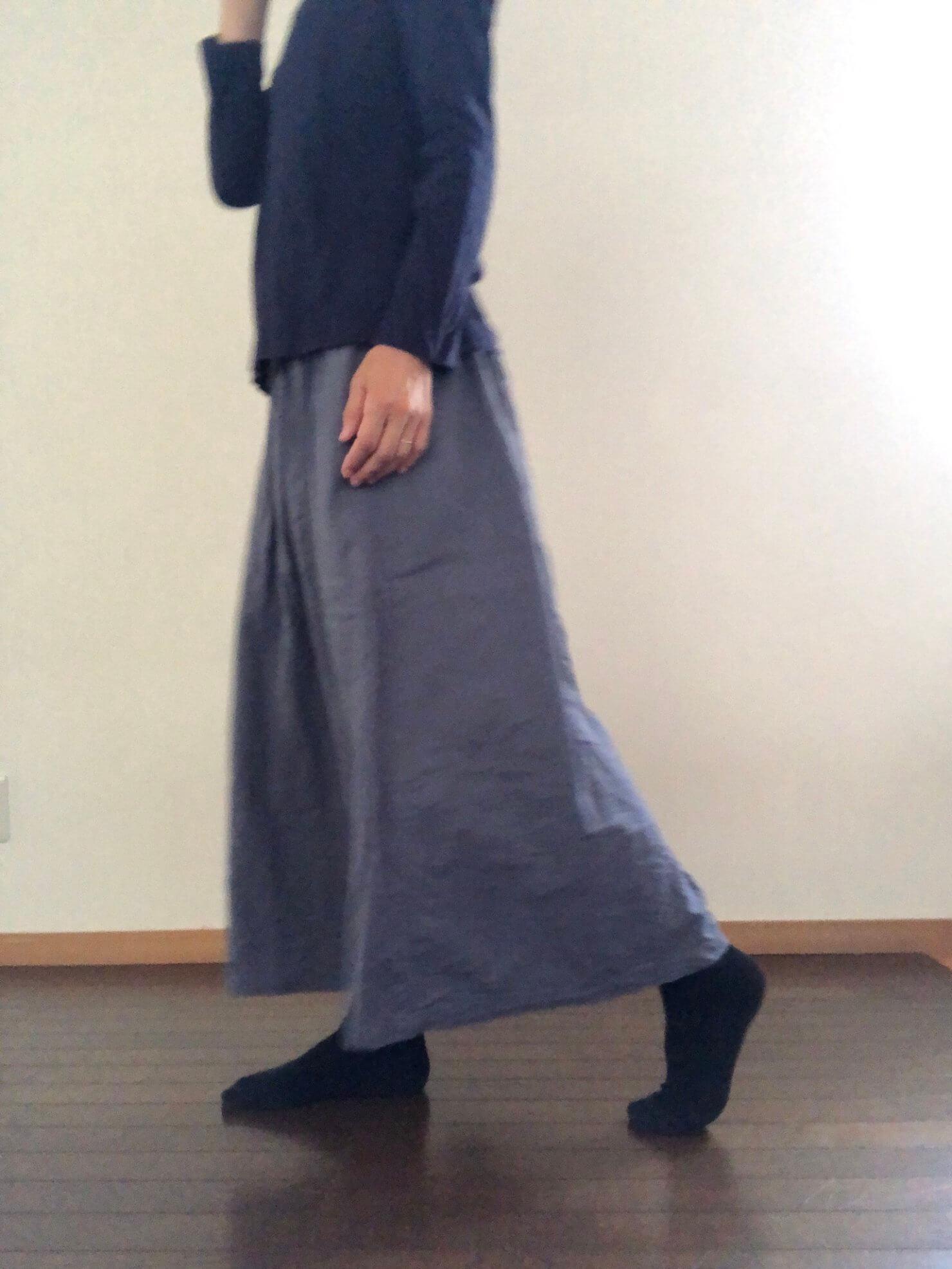 ブルーグレーギャザースカート