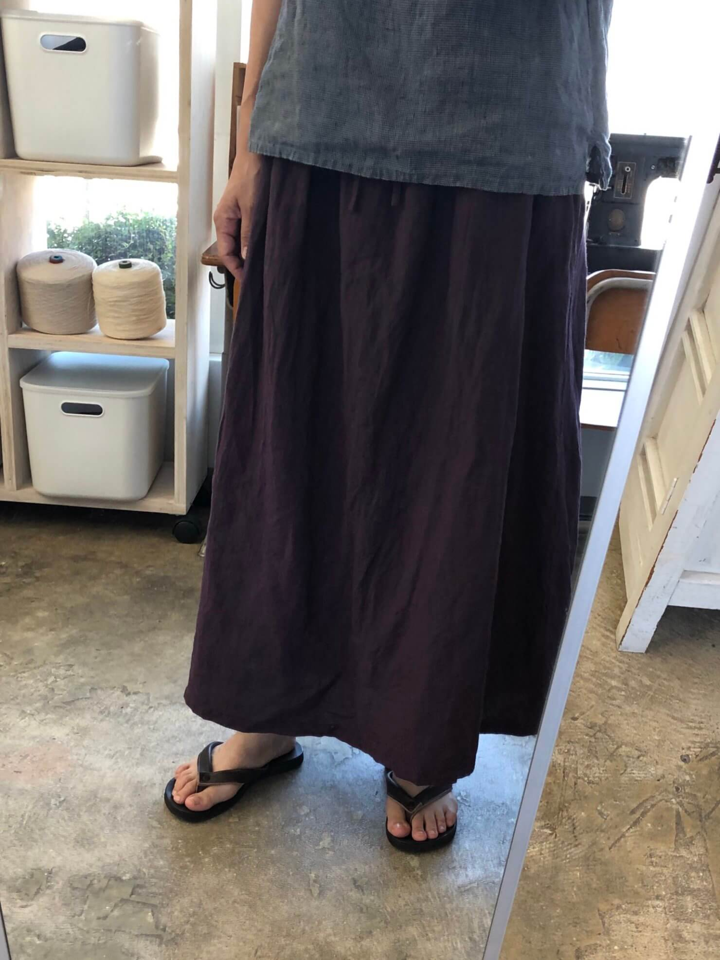 プルーンリネンギャザースカート 1