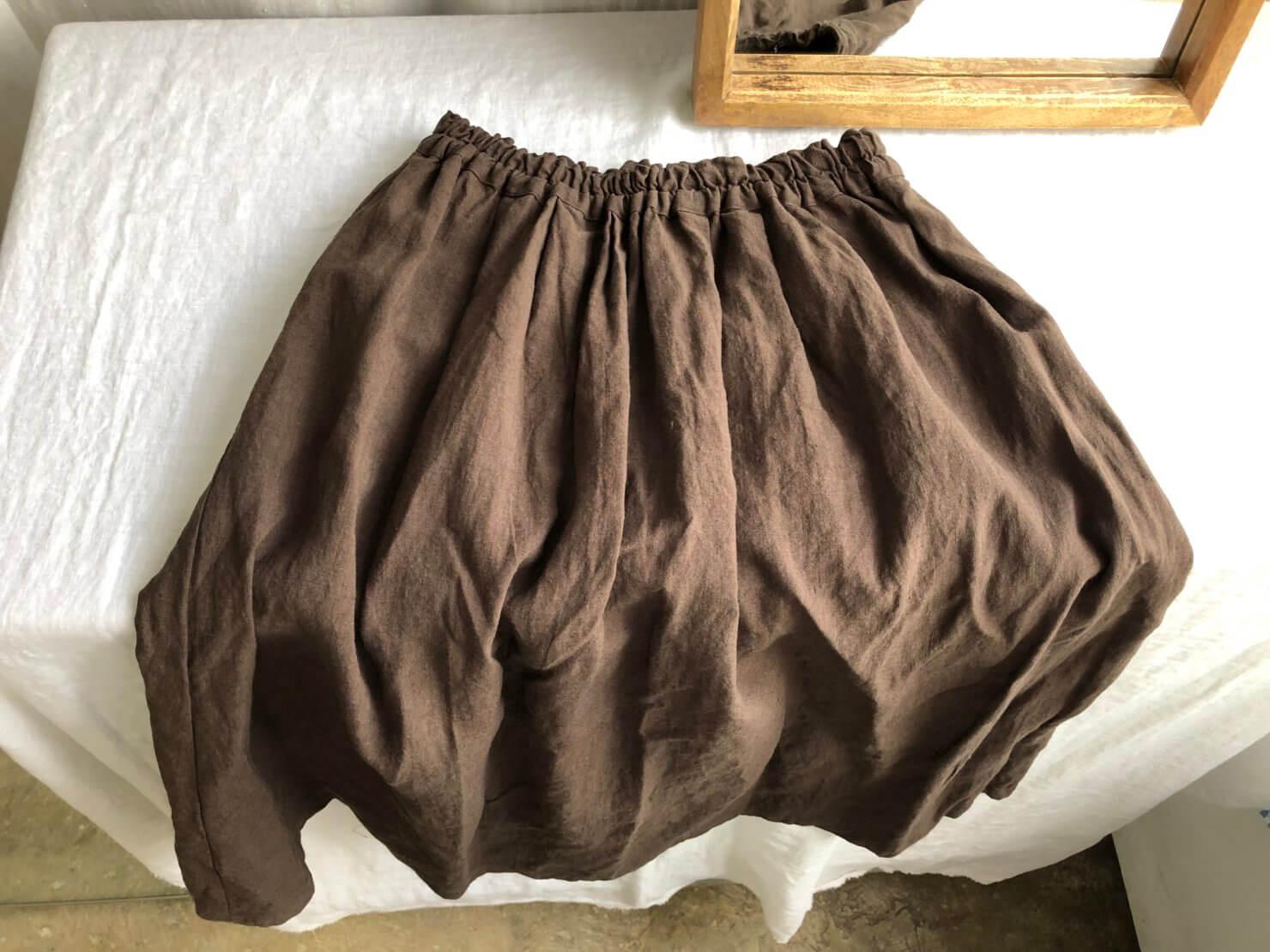ブラウンリネンギャザースカート 2