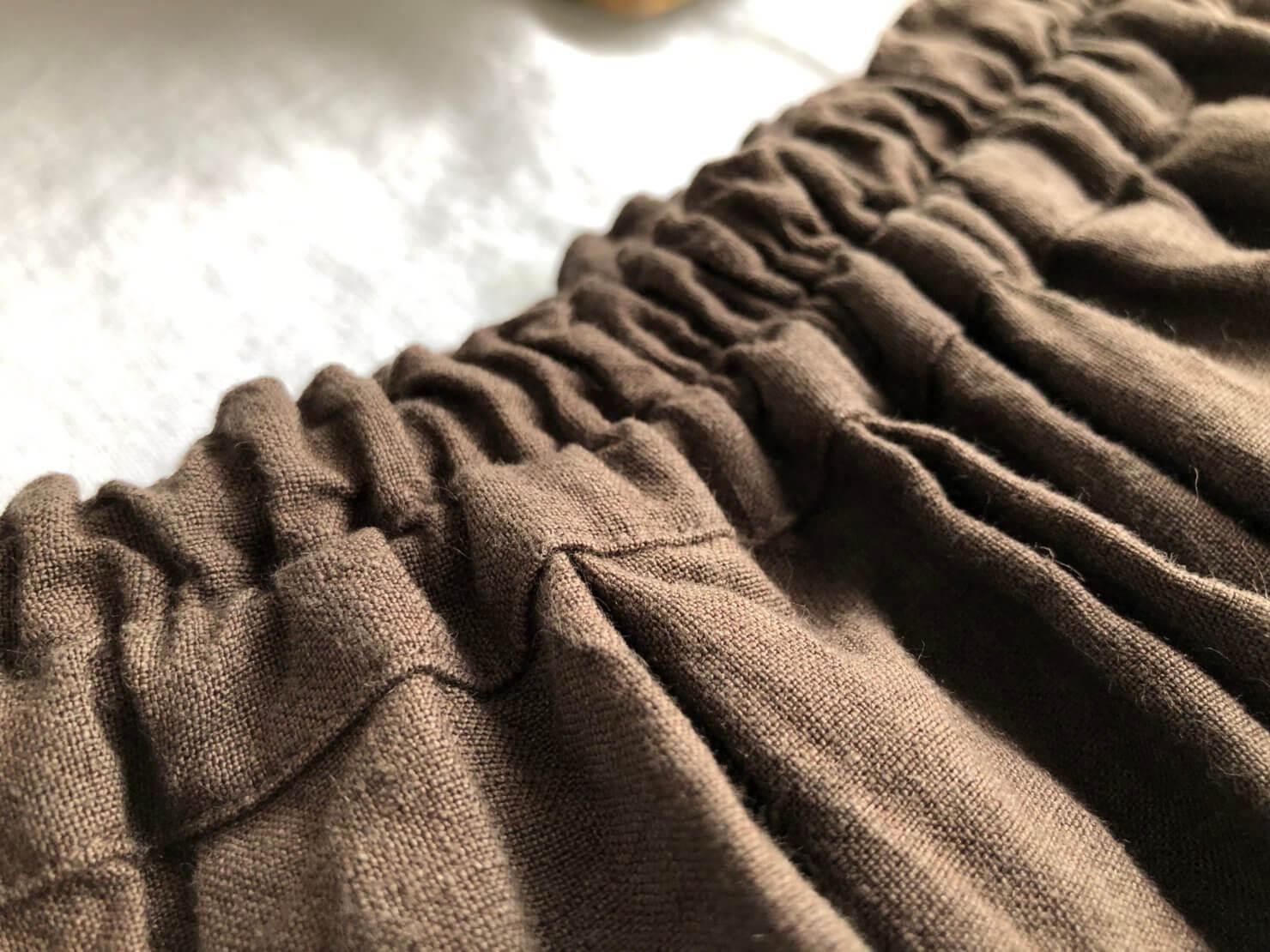 ブラウンリネンギャザースカート 1