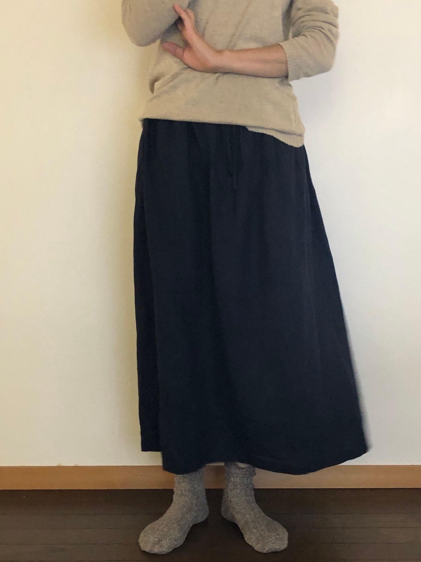 ネイビーリネンギャザースカート   3