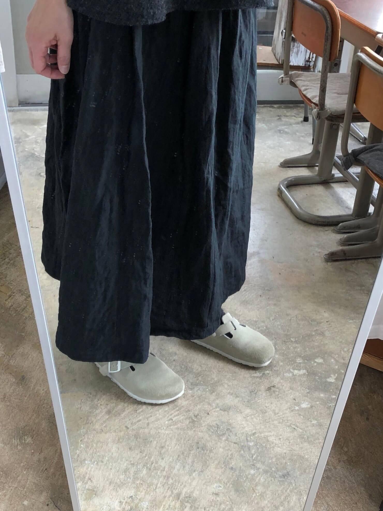 黒リネンギャザースカート   2