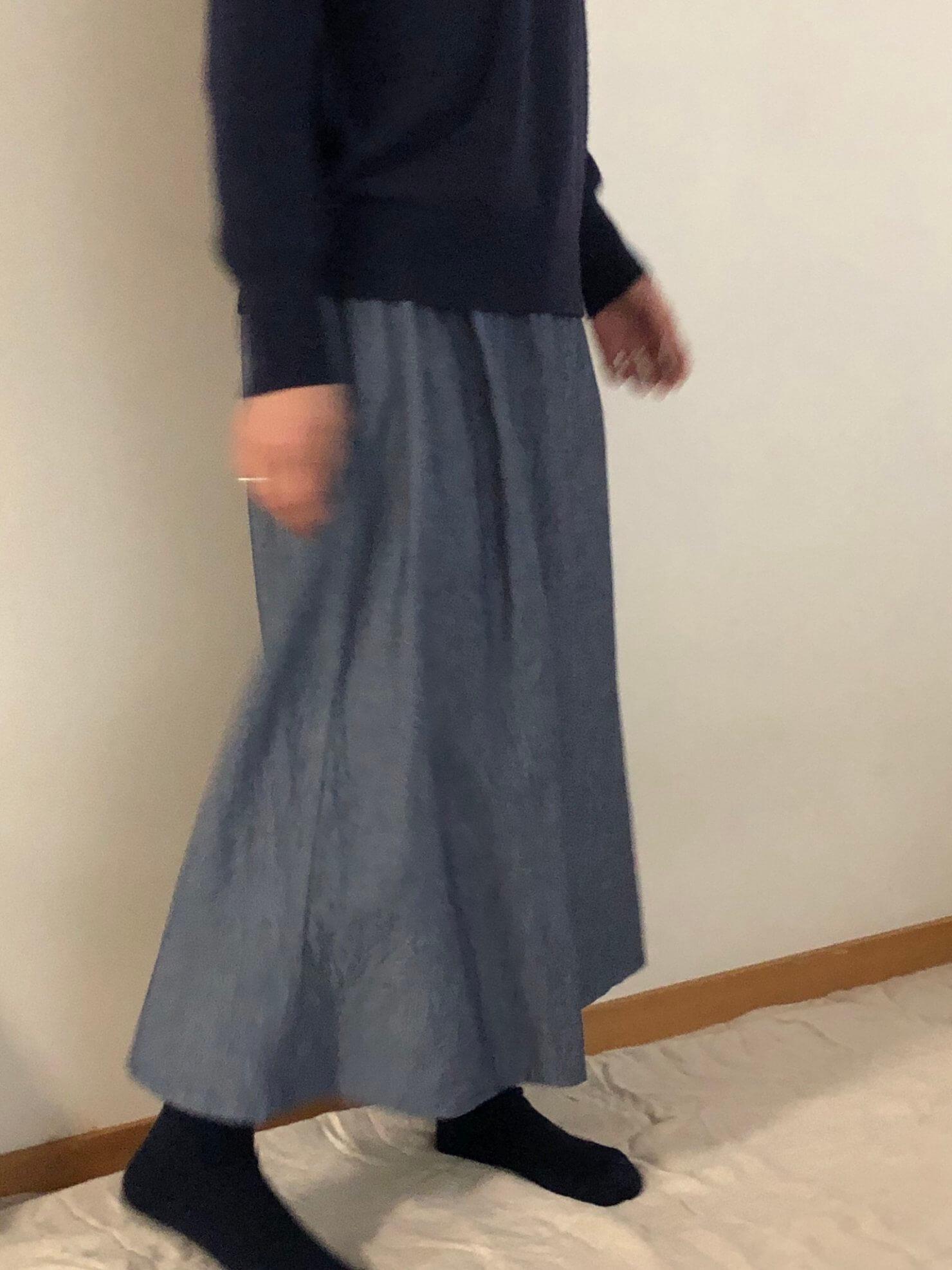 ブルーギャザースカート   2