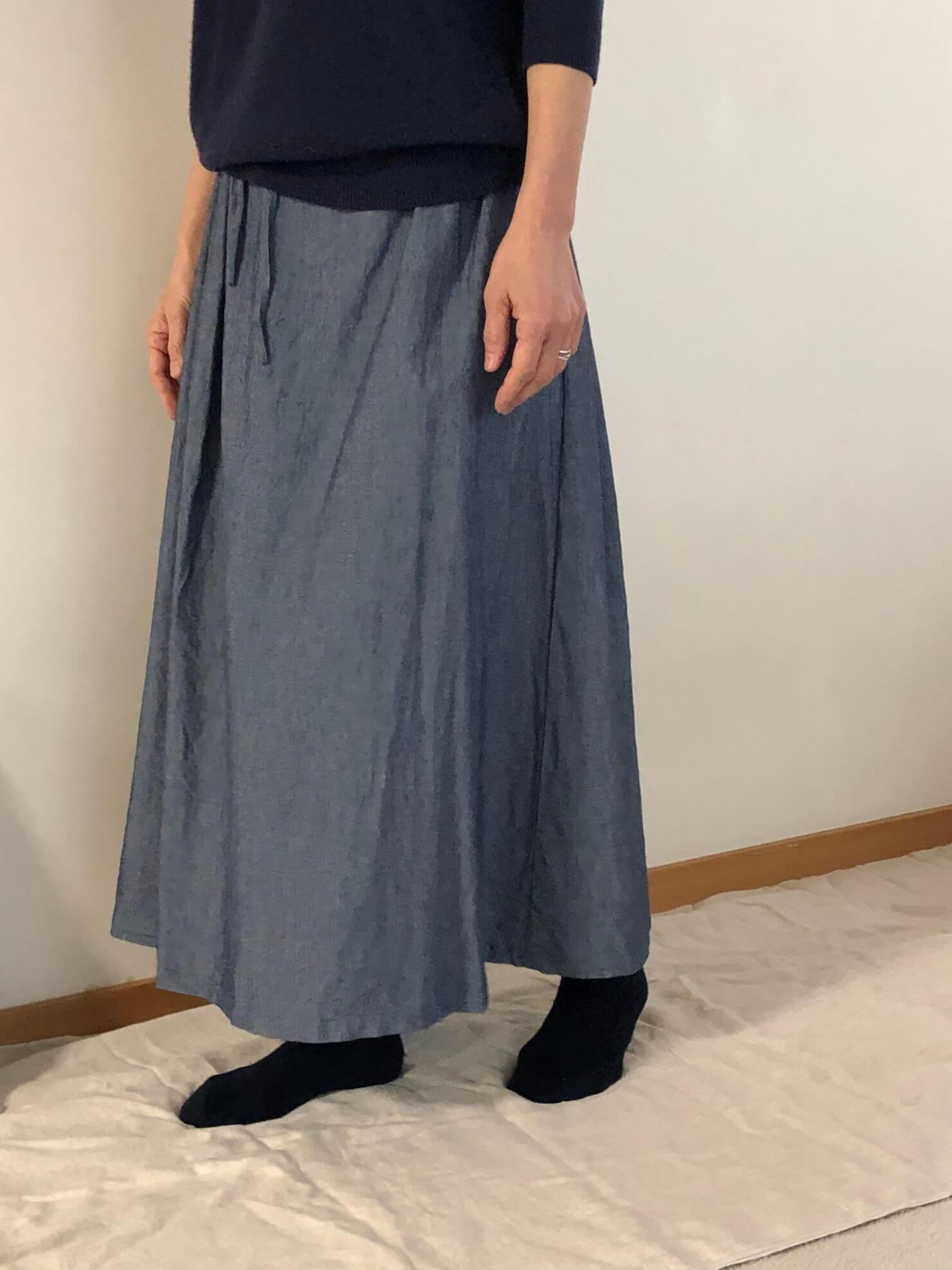 ブルーギャザースカート   3