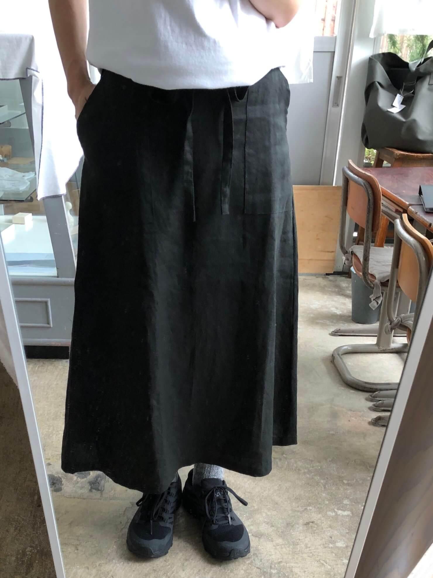 黒リネンラップスカート 77-1